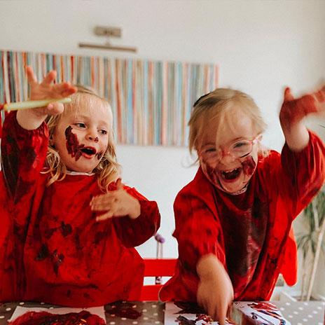 Children painting and having fun